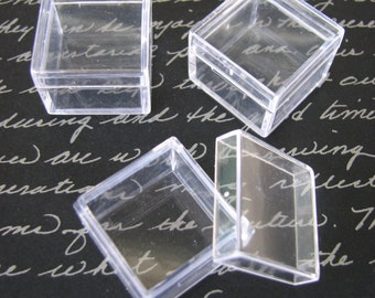 100 Pack Clear Acrylic 1 x 1 inch Box Storage  SQUARE Container Charm Earring Gemstone Boxes Bead Gems Trinket Jewelry