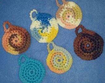 Multicolored Mini Cotton Face Scrubbies - reusable cotton balls - qty 6