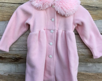 Pink Fur Girls Coat, Pink Faux Fur, Pink Fleece Coat, Fur Trimmed Coat, Faux Fur Coat, Pink Faux Fur Trim, Girls Fleece Pink Coat