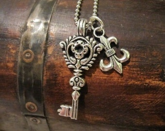 Silver Key Necklace, Fleur-de-Lis Charm, Charm Necklace, Tibetan Key, Silver Charm, Summer Necklace, Gifts for Her, Gifts for Teen