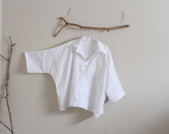over size linen shirt top with frog  made to order