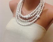 Chunky Layered White  Pearl Necklace brides bridesmaid special occasion