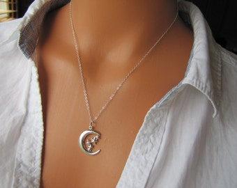 I Love You To The Moon And Stars Sterling Silver Necklace