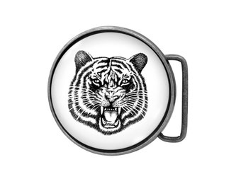 Belt buckle Tiger Antiqued Silver Gifts for him Gifts for her
