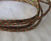 2 yds VINTAGE Tiny Green Red & Gold Metallic Cord Sewing APPLIQUE Trim