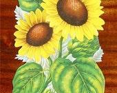 New Victorian Paper Scrap Yellow Sunflower