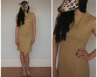Vintage 60's Brown and White Sheath Tank Wiggle Dress with Embroidered Plus Detail | Small/Medium
