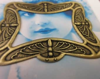 Brass Oxidized Patina Plated Large Dragonfly Brass Stamping Frame 843BOX x1