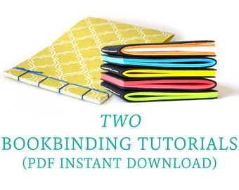 Set of Two Bookbinding Tutorials - Digital Download PDF - DIY Craft - Japanese Stab and Pamphlet Stitch
