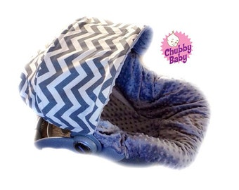 Infant Car Seat Cover, Baby Car Seat Cover in grey Chevron with grey Minky