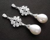 Freshwater Pearl Teardrop Cubic Zirconia 14K White Gold Plated Earrings, Bridesmaid, Wedding Gift Bridal Earrings