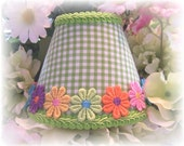 NEW Lime Green & White Checks With or Without Colorful Applique Daisy's Gingham MINI Clip On Shade