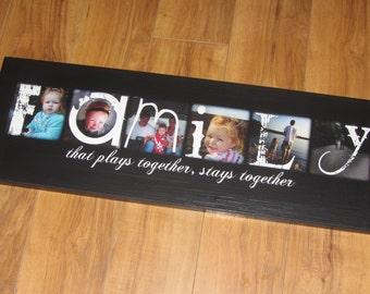 "FAMILY PHOTO GiFT Custom made with your photos- Personalized PHOTO Giclee MoUNTED prints- 8"" x 24"""