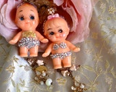 Lilygrace Vintage Boy and Girl Kewpie Doll Earrings with Vintage Rhinestones, Gold Leaf and Vintage Glass Beads