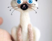 Felt Siamese cat miniature kitty doll plushie w blue eyes - Made to order