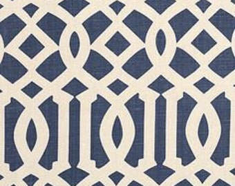 Schumacher Imperial Texture - Trellis - Navy - Polyester - New Fabric By The Yard