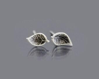 Teeny Tiny Leaf Earrings - Oxidized Sterling Silver Earrings