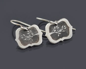 Tiny Framed Bird on Branch Earrings- Etched Sterling Silver Dangles - Hand Drawn Nature Jewelry