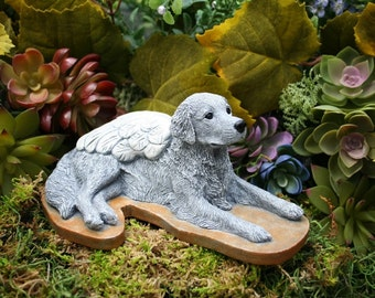 Golden Retriever Angel Dog Memorial - Concrete Statue - Angel Pet Marker
