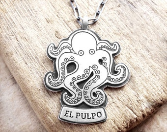 Octopus necklace, El Pulpo, silver octopus jewelry, sea creature, handmade octopus pendant, wife gift, girlfriend gift