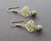 Art Nouveau Gold Earrings Moss Green Beads