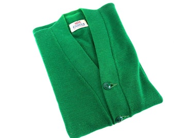 Vintage 1950's Kelly Green Letter Sweater, Modern Size 6, Small