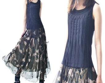 Idea2lifestyle - Camouflage chiffon maxi skirt maxi dress (Q1512)