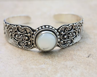 Ornate 925 Sterling Silver Cuff Bracelet with White Opal and Delicate Scroll Work.