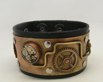 Steampunk leather cuff bracelet.