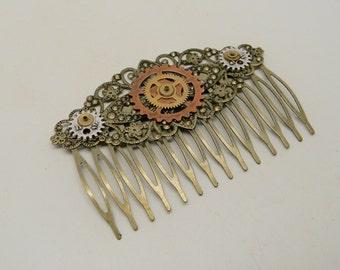 Steampunk comb. Steampunk jewelry. Comb.