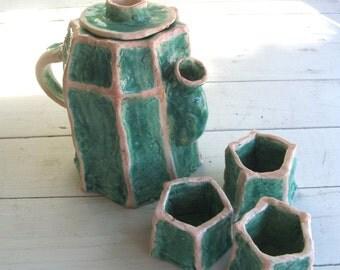 Unique Handmade Sculptural Pottery Teapot Set