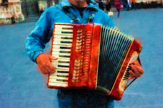 "The ""Accordianista""  Archival Print"