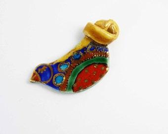 Ceramic brooch, multicolored  bird CORINE with gold. Broche céramique, oiseau CORINE multicolore et or.