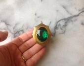 Vintage Brass Gem Locket.