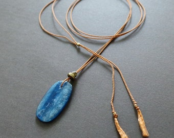 Blue Kyanite Slab Silk Long Necklace - Special Collection Tumblr Girl Necklace