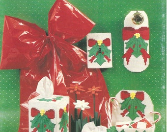 Plastic canvas holly christmas