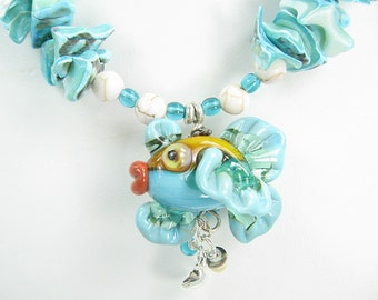 Handmade Shell and Glass Lampwork Blue Fish Necklace with Earrings