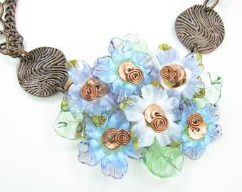 Handmade Blue Glass Lampwork Flower Necklace with Earrings