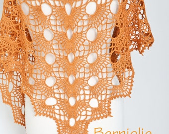 Crochet shawl, copper shawl, copper lace shawl, lace crochet shawl, N346