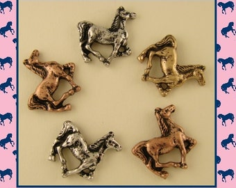 2 Hole Beads Horse Pony Canter/Trot ~Equestrienne~Western~Cowboy~ 3Tone Metal Sliders QTY 5     (SKU 230588772)