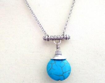 Turquoise Necklace, Turquoise PEndant Necklace, Blue Necklace