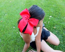 """Choose SIX of 8"""" XTRA LARGE Grosgrain Cheer leading bow with Pony O - Colors inside"""