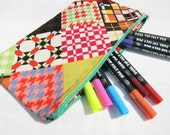 Large pouch/pencil case in vibrant patchwork print