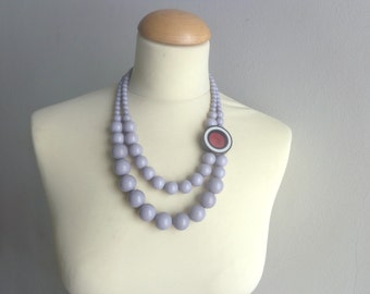 Grey black white purple Statement necklace multi strand necklace
