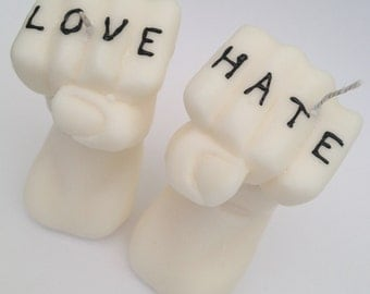 Love & Hate, Tattooed Knuckle Candles