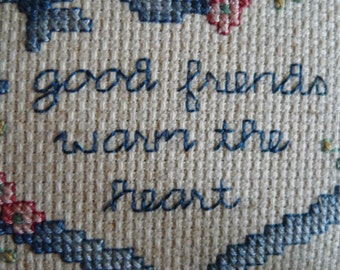 good friends warm the heart needlepoint vintage textile handmade wood and cloth art
