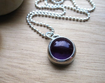 Amethyst Necklace Sterling Silver Bezel Set Gemstone Necklace February Birthstone Jewelry Purple Birthstone Necklace Round Amethyst - Amulet