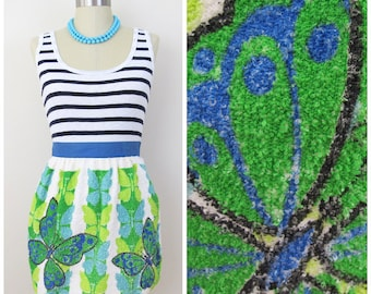 70s Mod Blue Green Butterfly Tea Towel Apron
