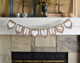 Wedding party reception pennant banner, MR MRS and hearts, rustic celebration decor decorations
