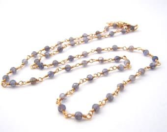 Iolite Strand Necklace, Rosary Style, Denim Blue, Gold